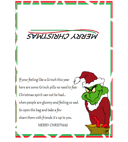 4 Images of Grinch Pills Poem Printable