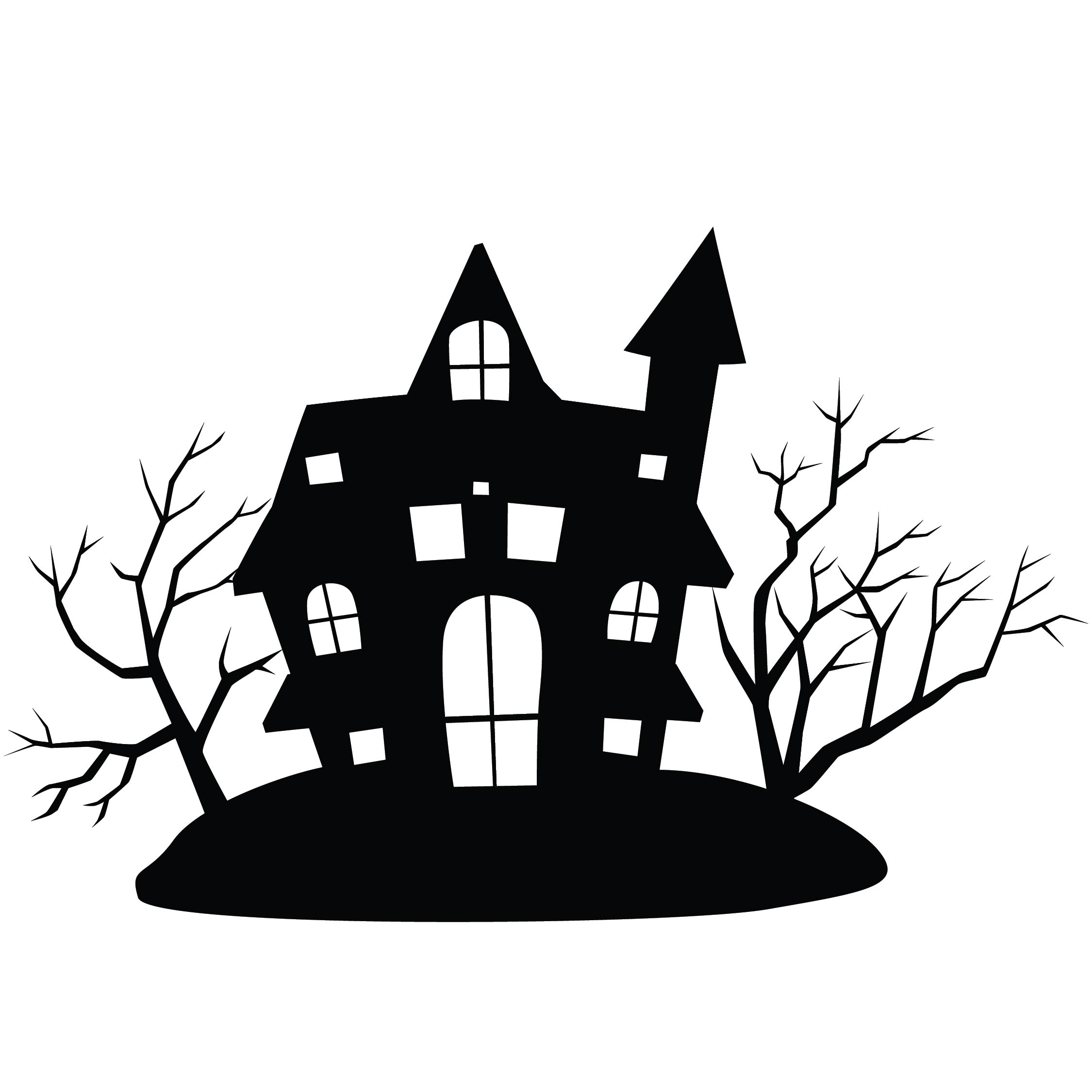 Halloween Haunted House Silhouette Patterns