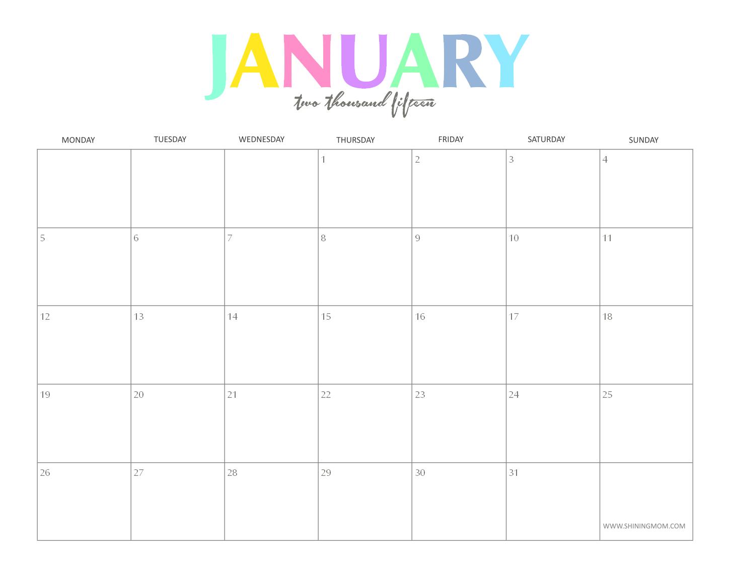 Cute Calendar January 2014...