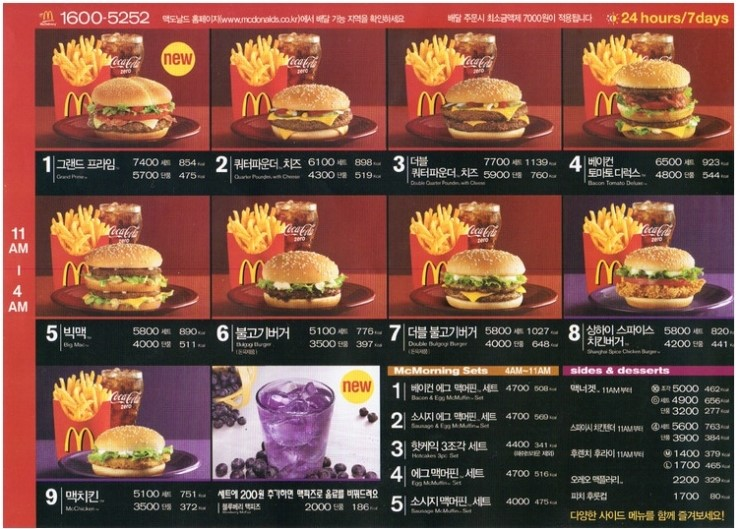 McDonald's Menu English