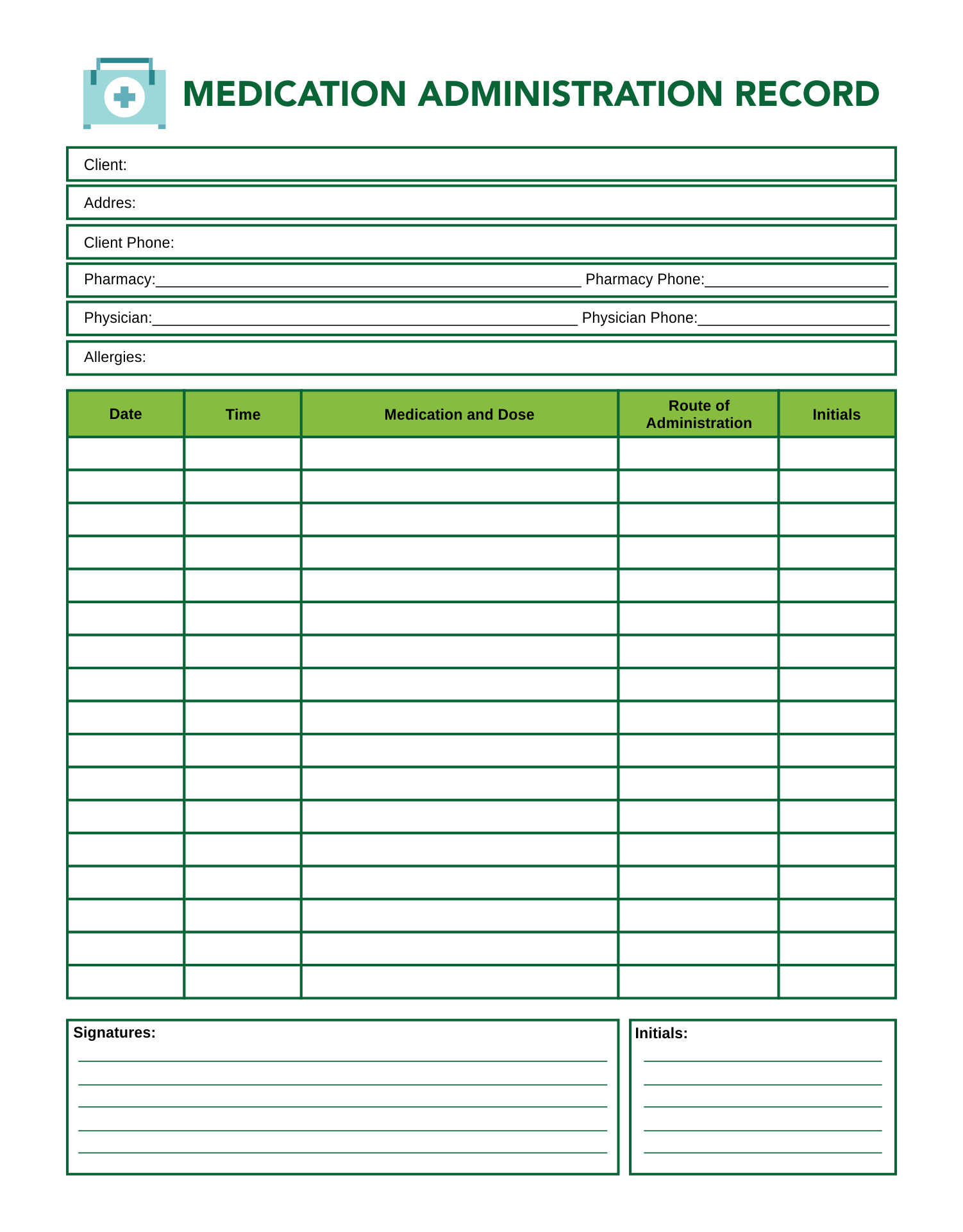 6 best images of printable blank medication sheet free for Medication signing sheet template