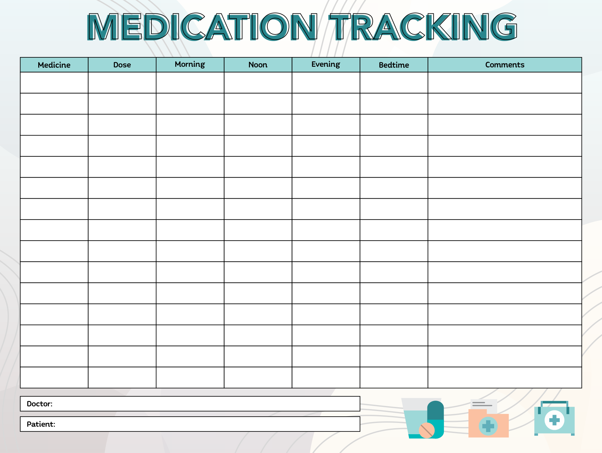 ... Record, Blank Monthly Medication Administration Record and Medication