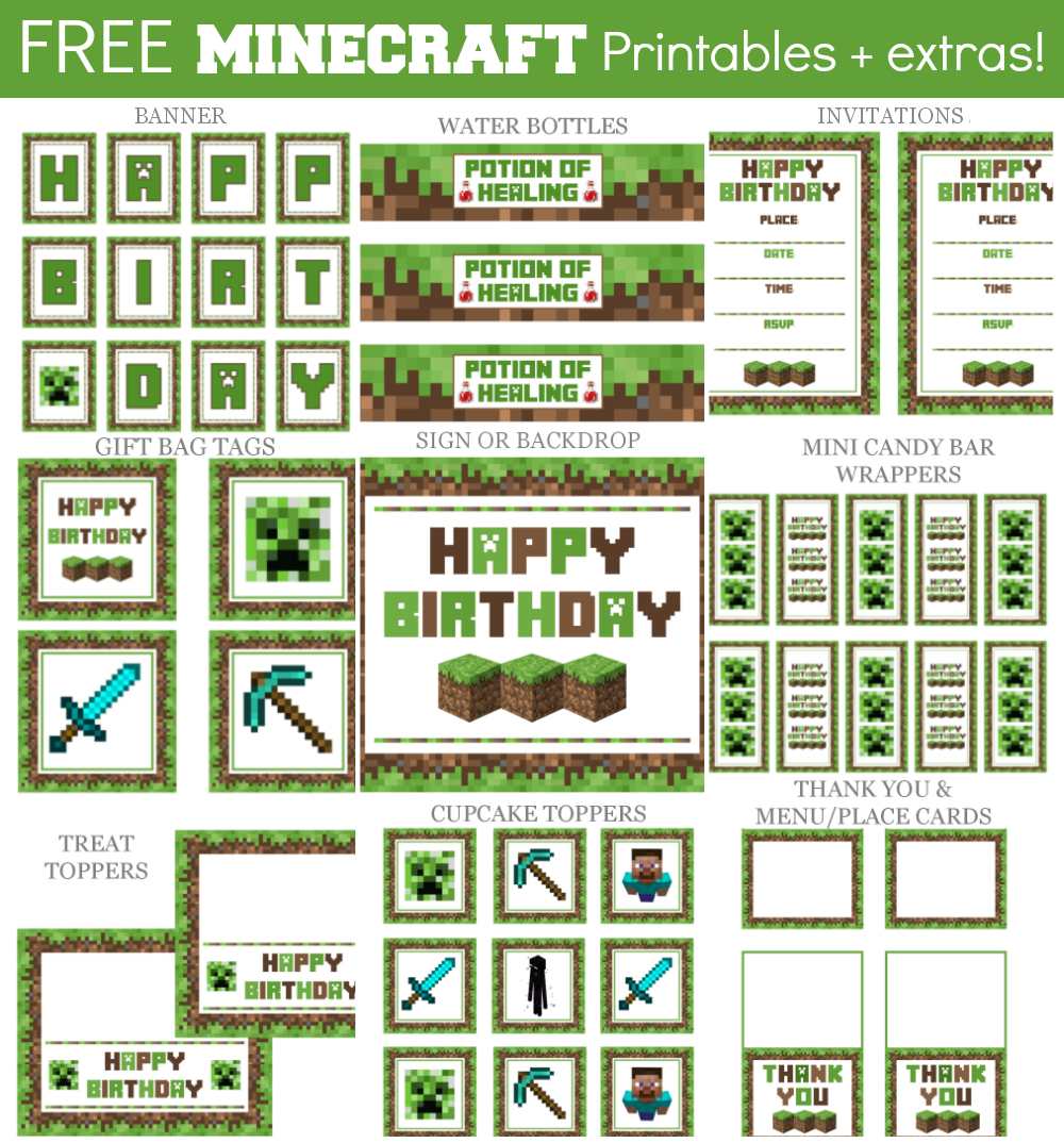 9 Images of Minecraft Party Printables