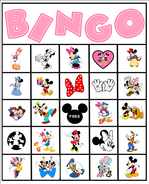 8 Images of Mickey Mouse Printable Bingo Cards