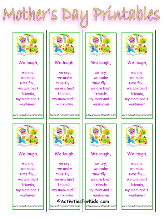 9 Images of Printable Mother's Day Bookmarks