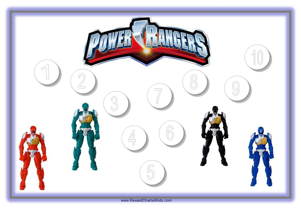 4 Images of Power Rangers Free Printable Chore Chart