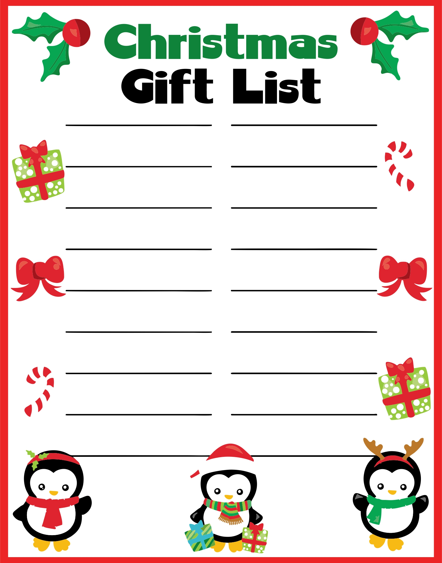 Printable Christmas Gift List Template