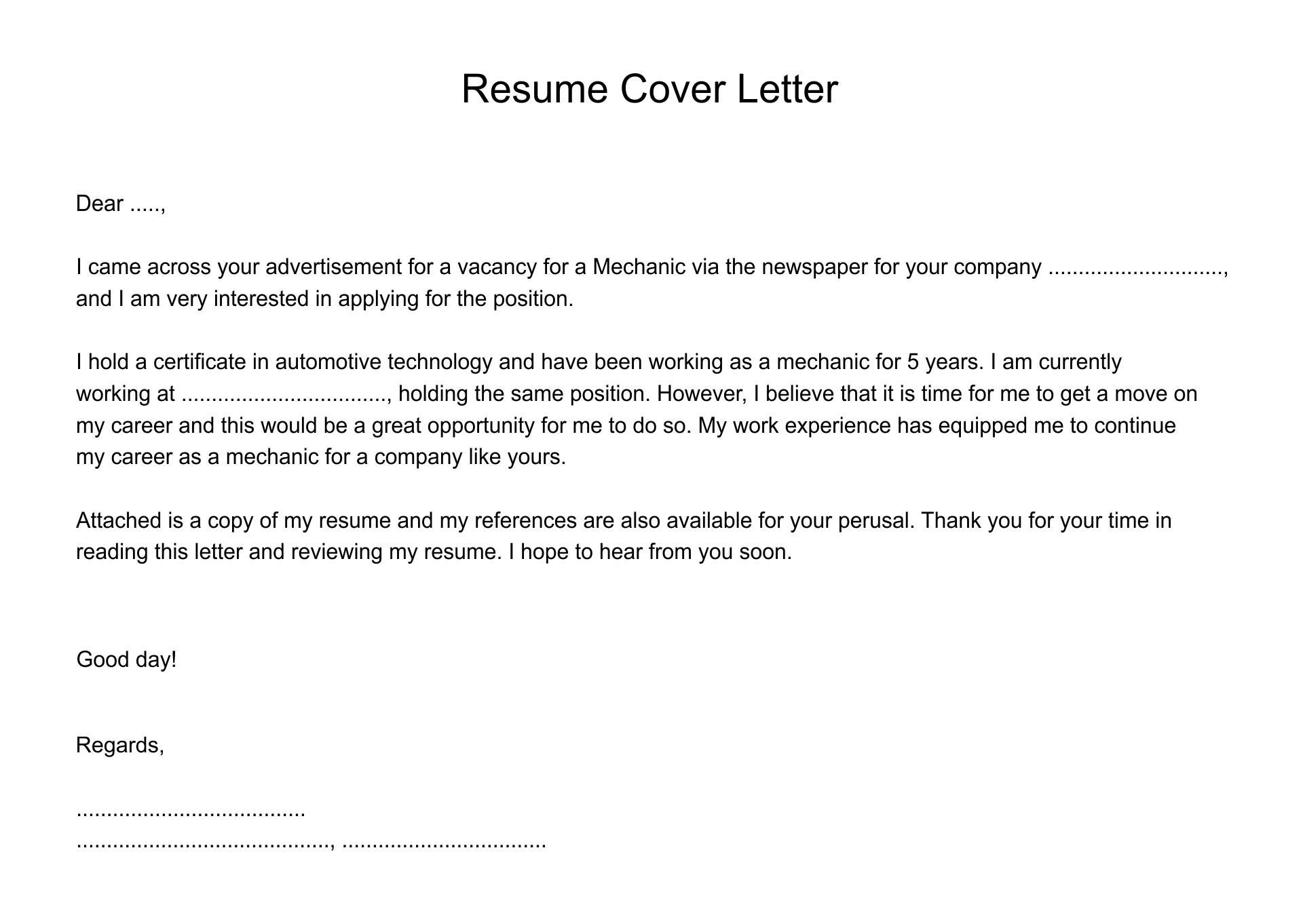 Printable Cover Letter Samples