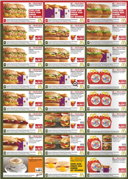 Printable McDonald's Menu Breakfast