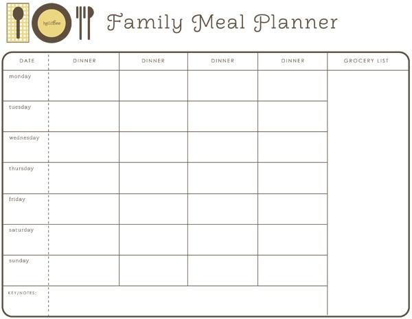 Printable Meal Planner Calendar : Best images of printable weekly meal plan ideas