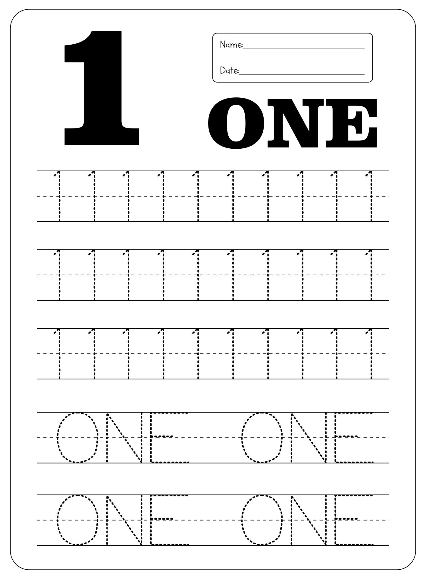 Printable Number 1 Tracing Worksheets