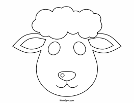 4 best images of sheep mask template printable printable for Lamb cut out template