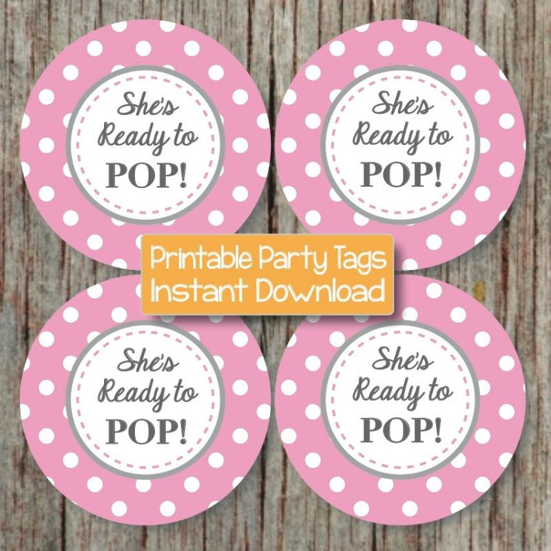 6 Images of Free Printable Baby Shower Ready To Pop Labels