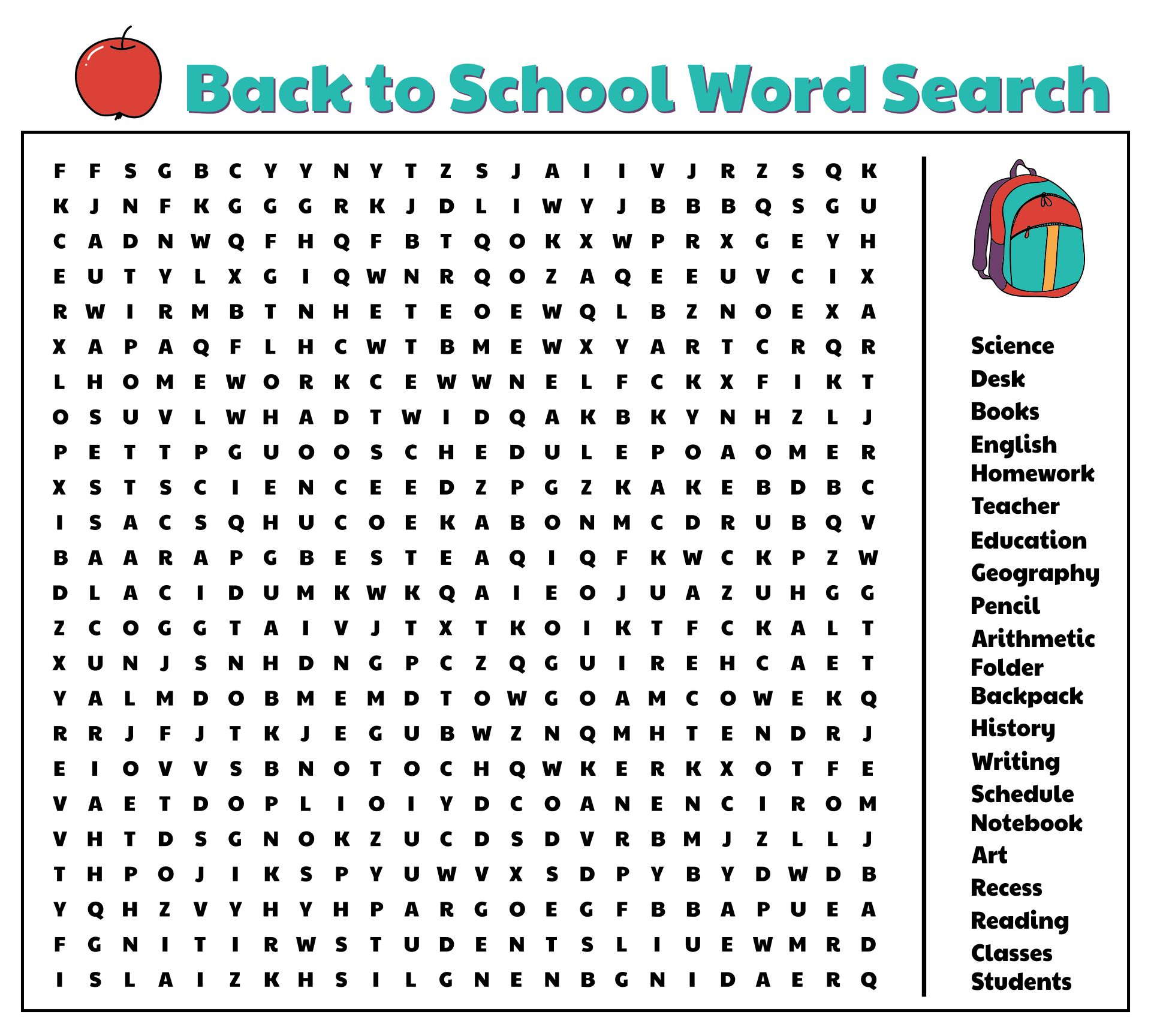 4 Images of School Word Search Puzzles Printable