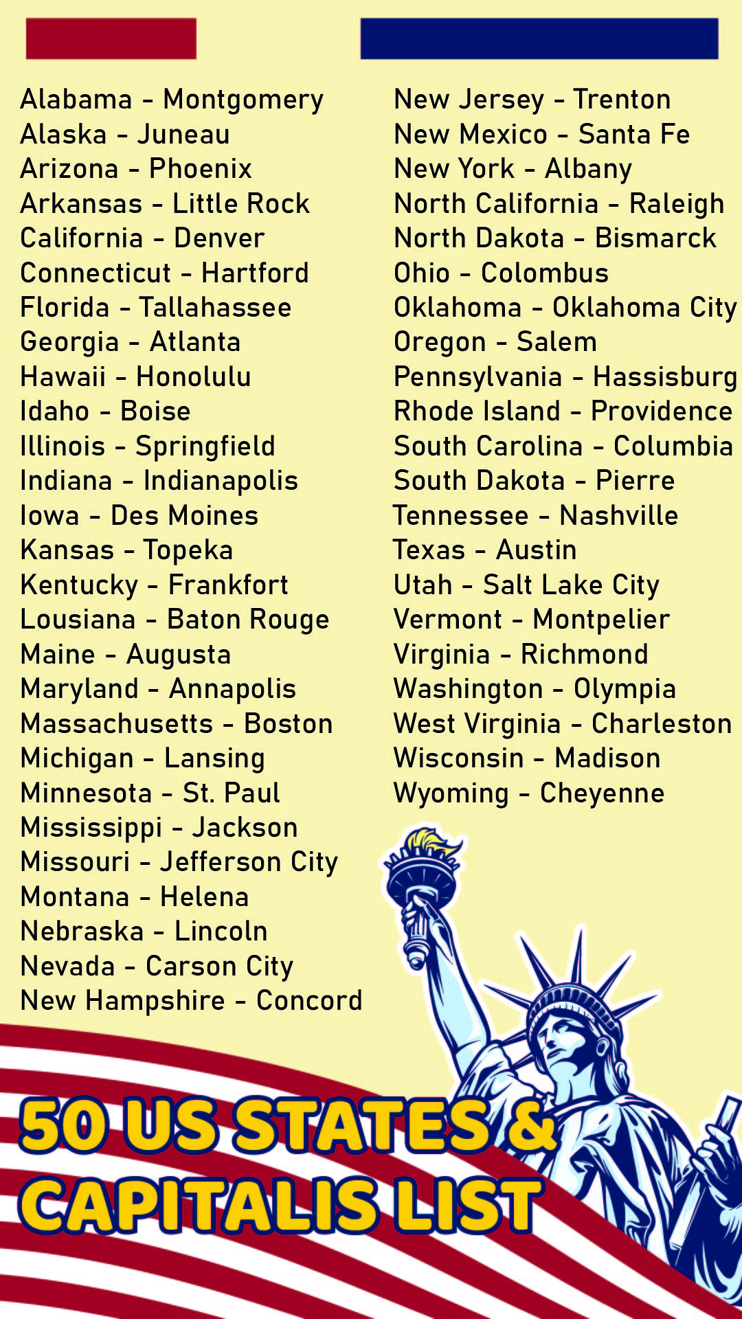Us State Capitals List Printable