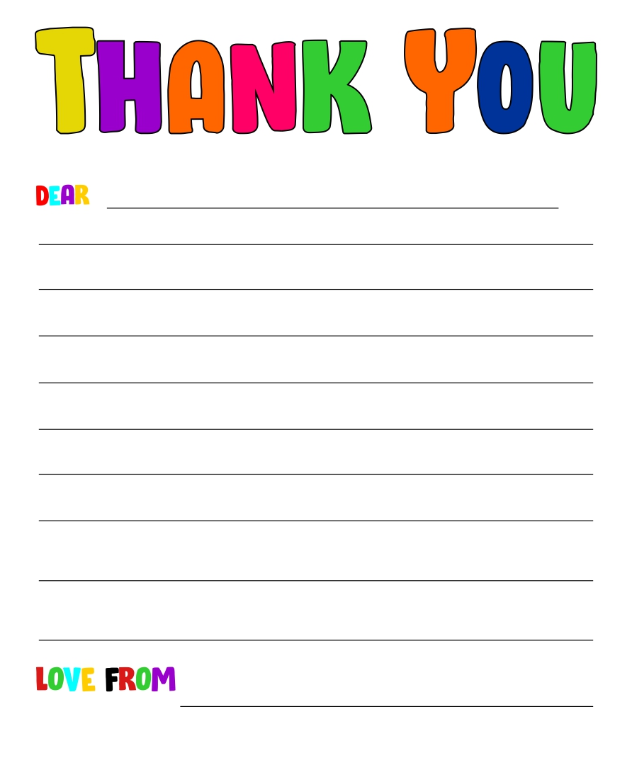 Thank You Letter Writing Paper Template for Kids