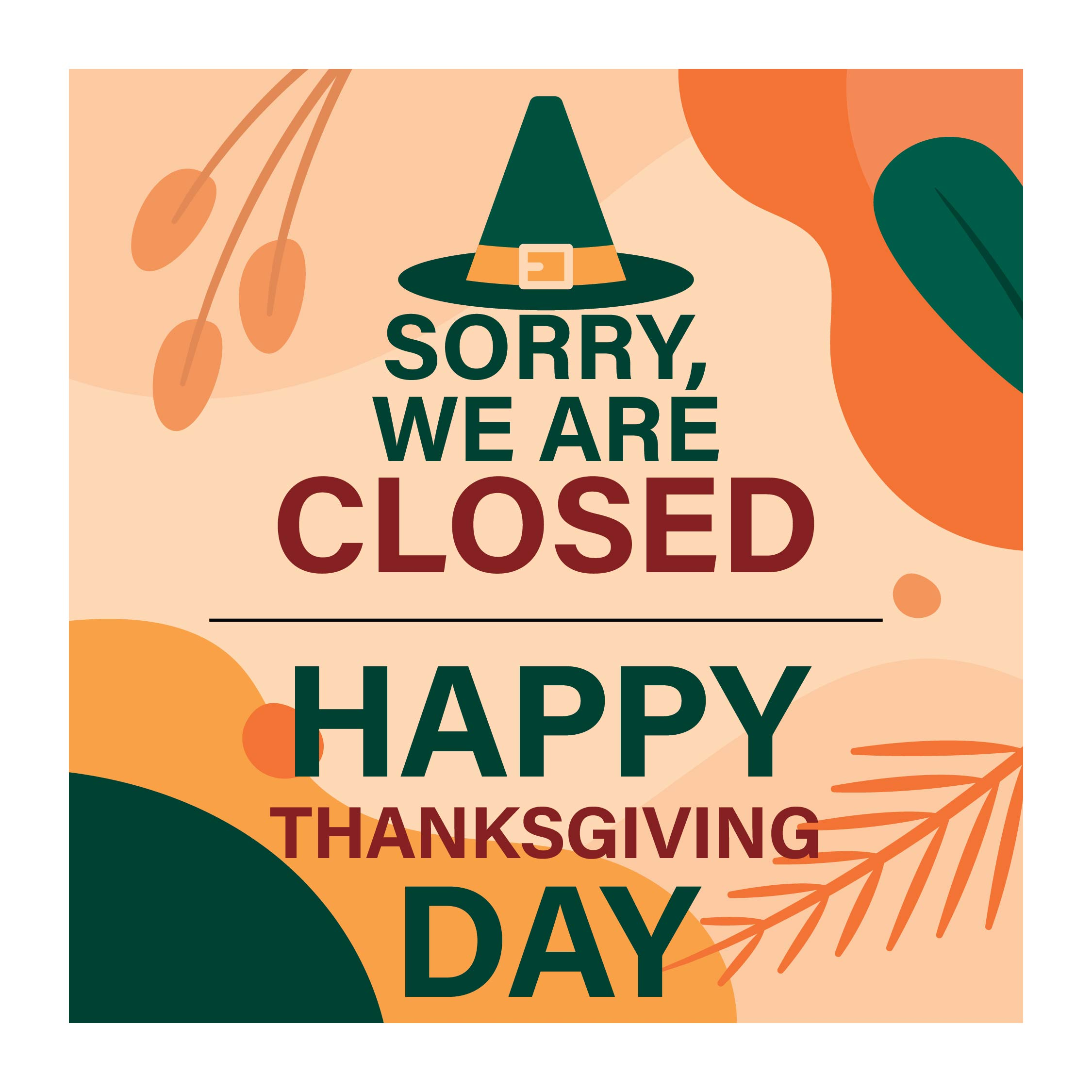 Thanksgiving Day Closed Signs