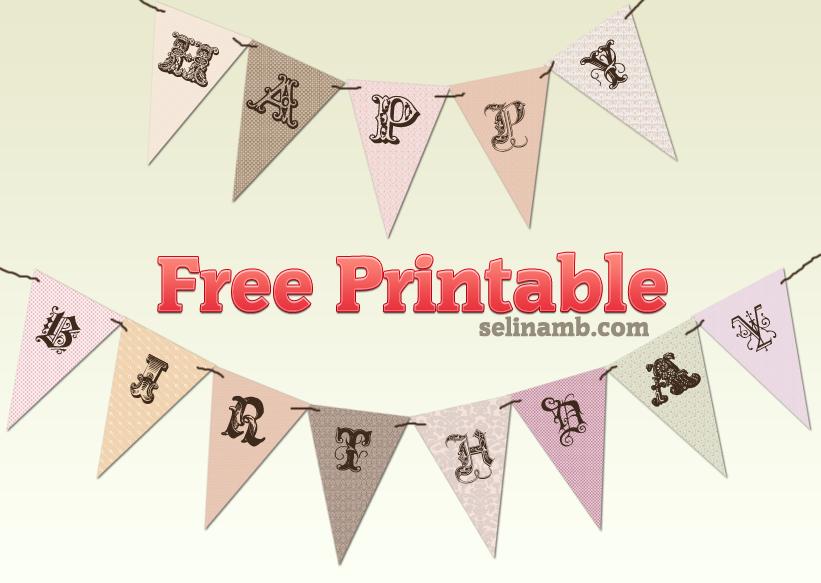 Vintage Happy Birthday Banner Printable Free