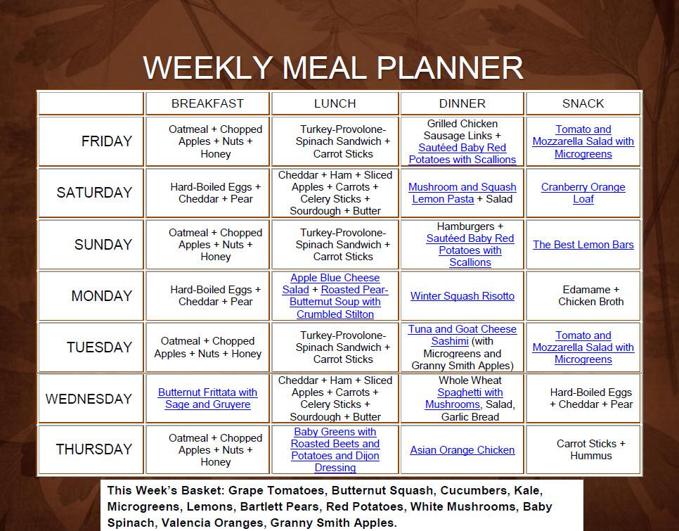 meal planner weekly