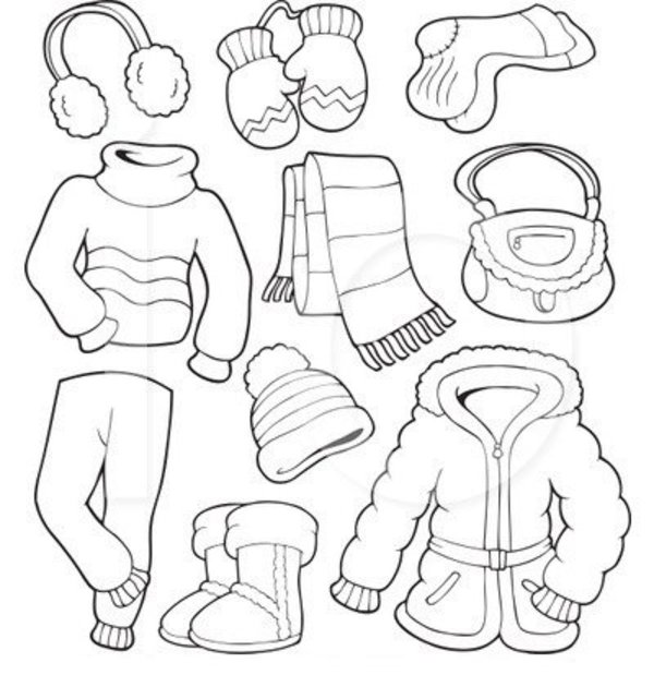 4 Images of Winter Clothes Coloring Pages Printable