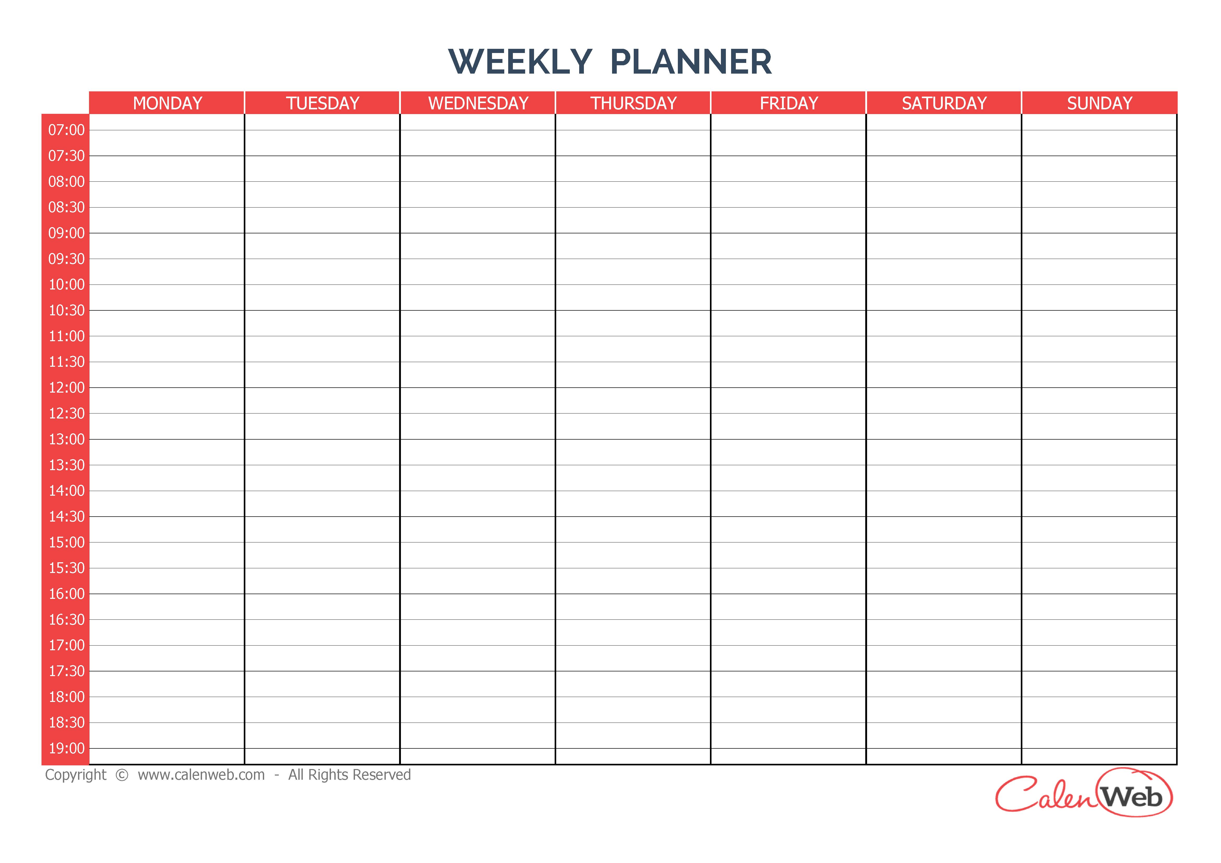 Day Calendar Printable - 7-Day Calendar Template, 5 Day Week Blank ...