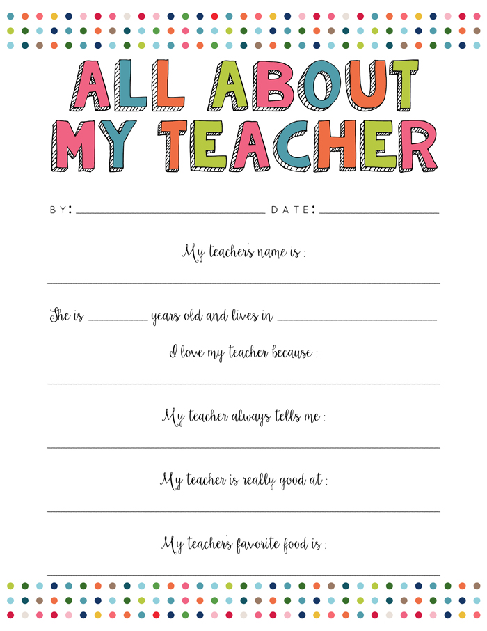 4 Images of I Love My Teacher Because Printable