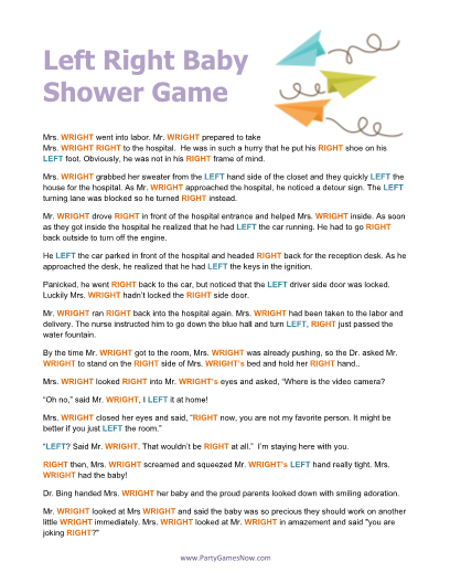 6 Images of Left-Right Shower Game Printable