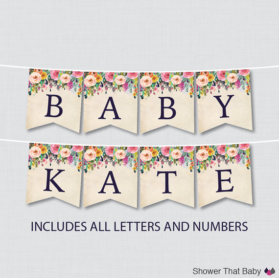 baby shower printable banner letters via