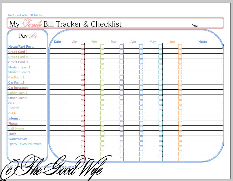4 Best Images of Printable Bill Payment Worksheet   Bill ...