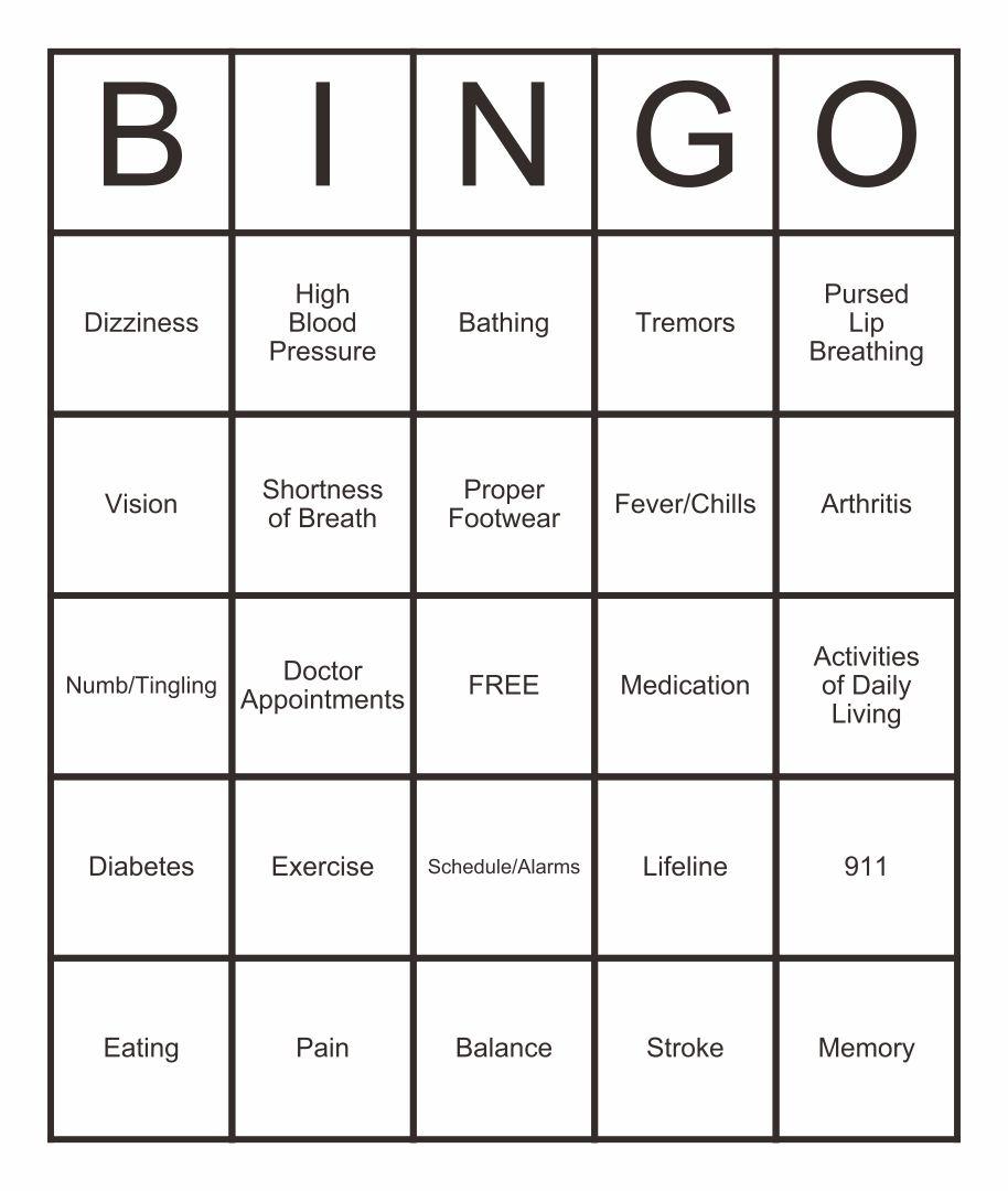 Bingo Activities of Daily Living
