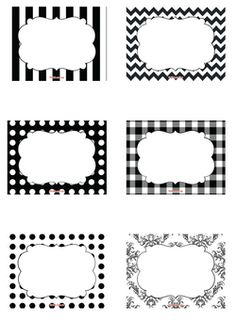 Black and White Candy Labels Printable Free