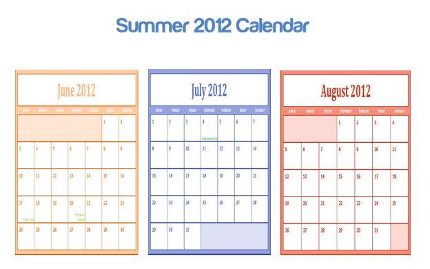7 Images of Summer 2014 Calendar Printable