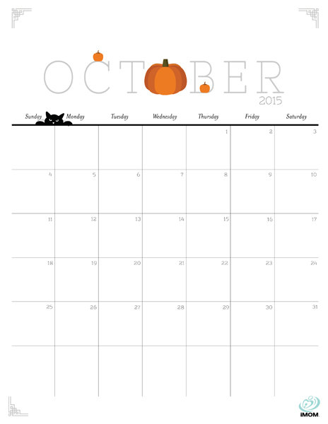 6 Images of Cute Printables Calendars October 2015