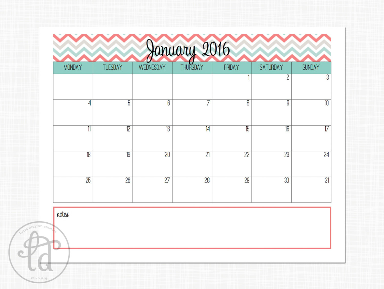 6 Images of Cute Free Printable January 2016 Calendar