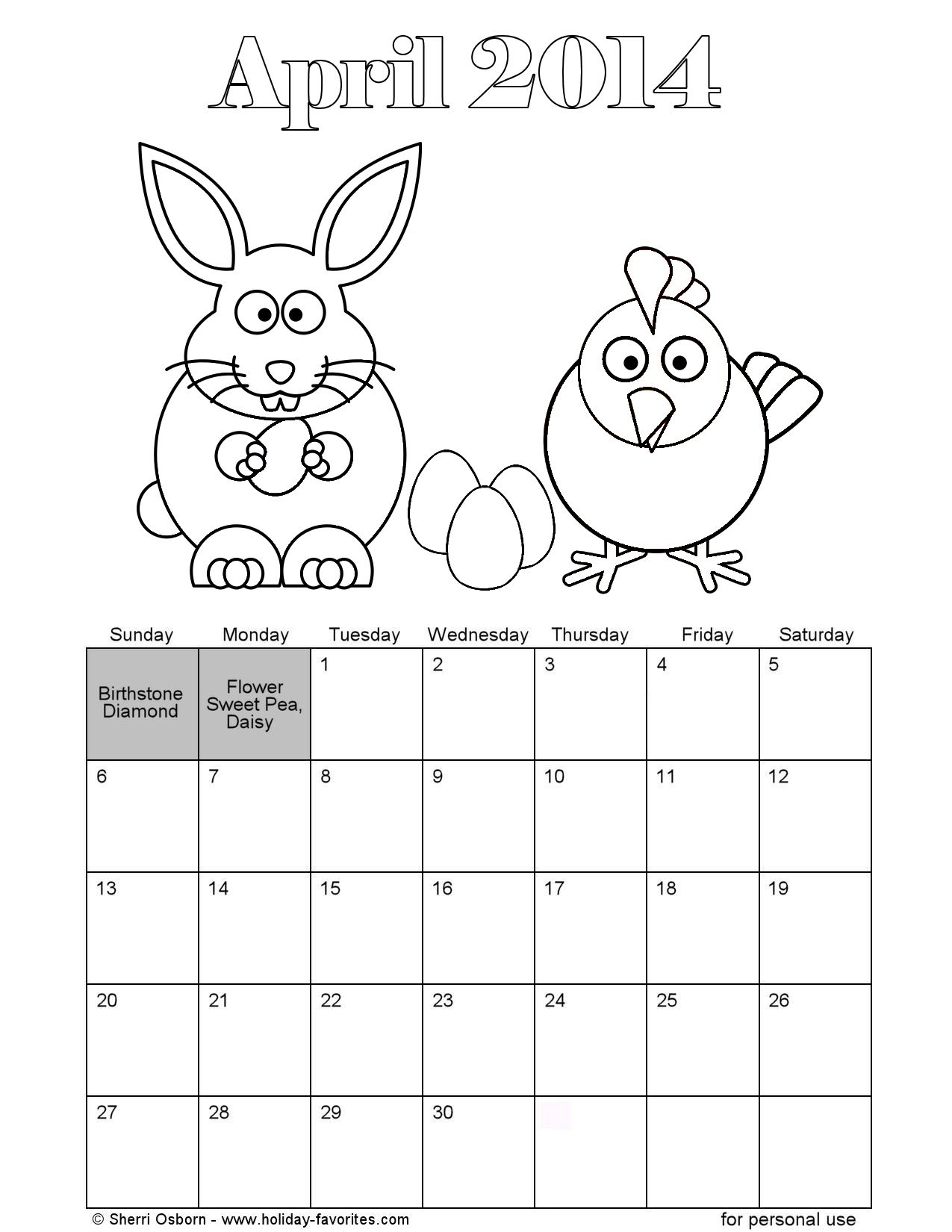 6 Images of April Easter Calendar Printable