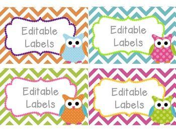 Free Classroom Editable Owl Labels