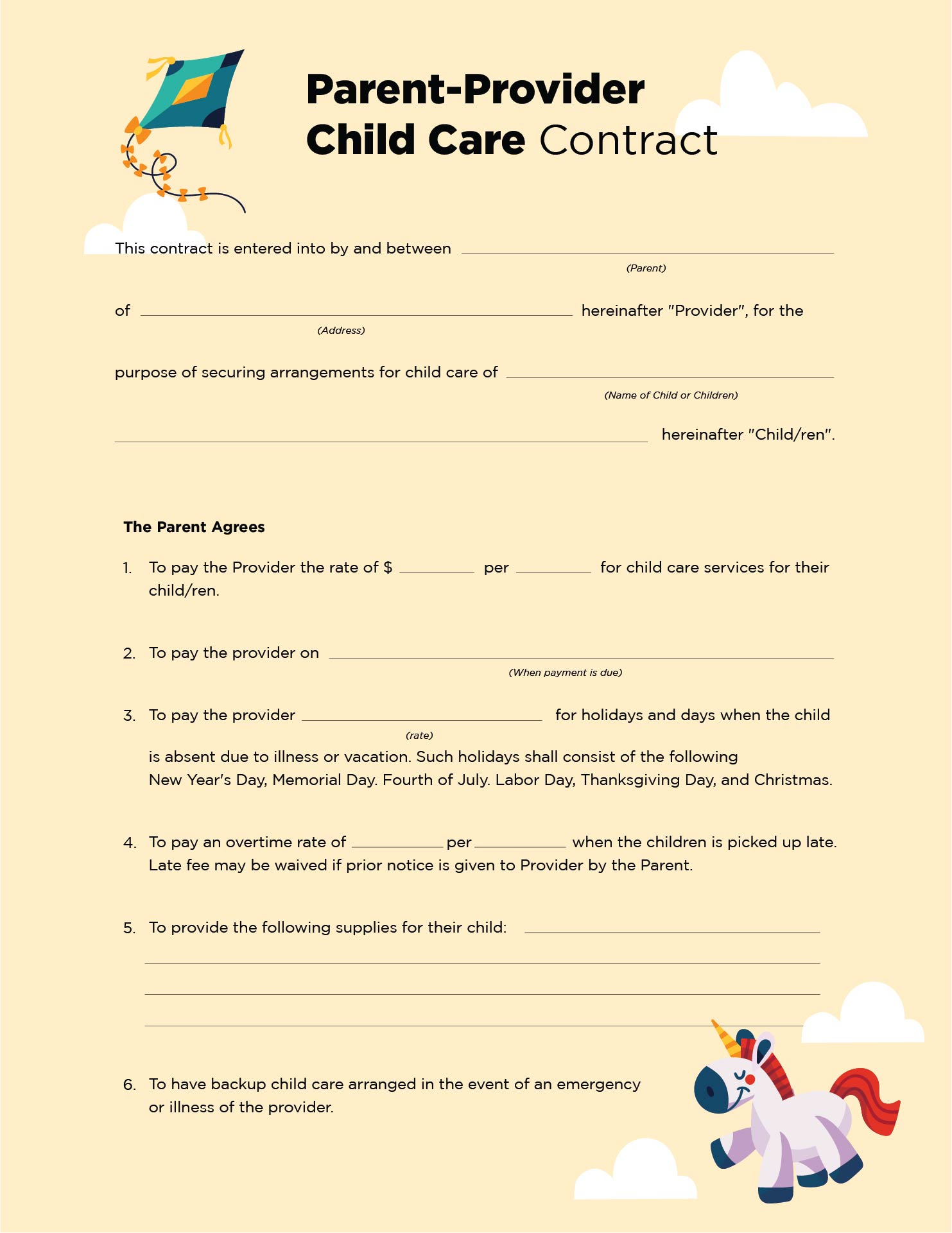 8 Images of Home Day Care Forms Printable