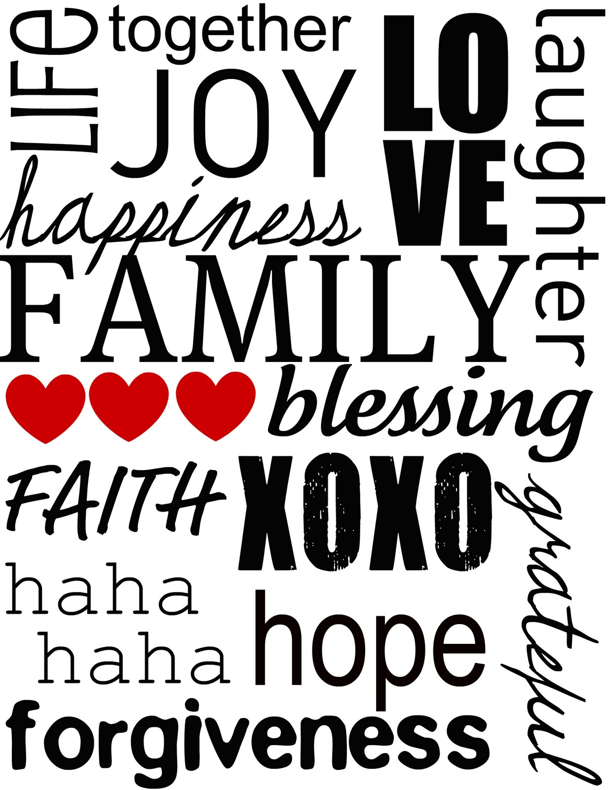 6 Images of Printable Family Word Art