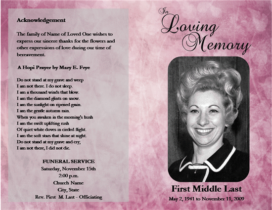 Doc549424 Free Memorial Service Program Free Funeral Program – Free Memorial Program Template
