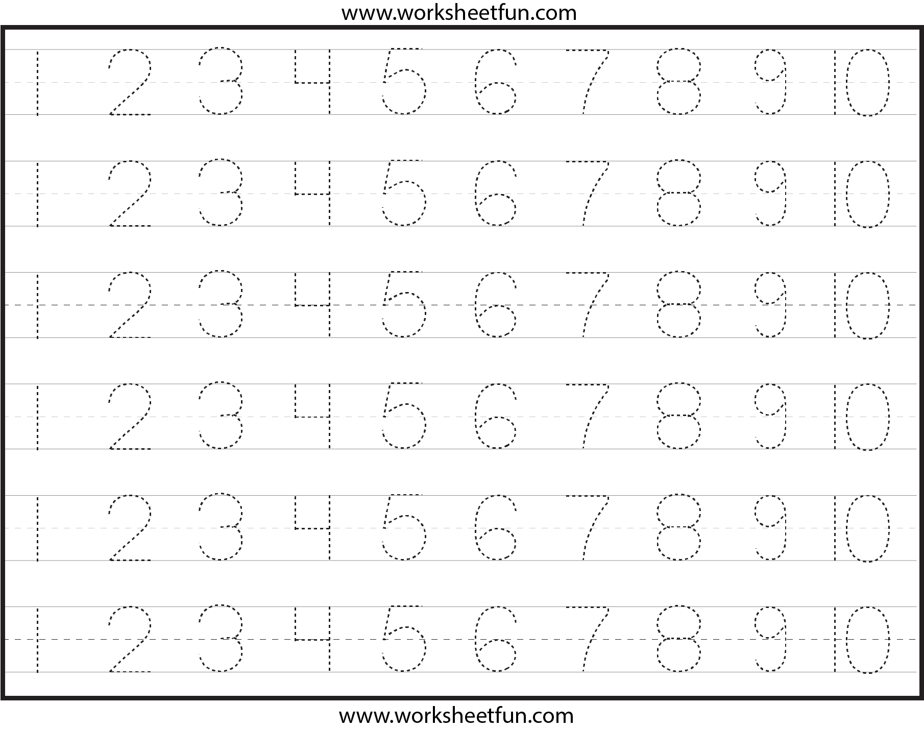 6 Images of Printable Number Tracing Sheets