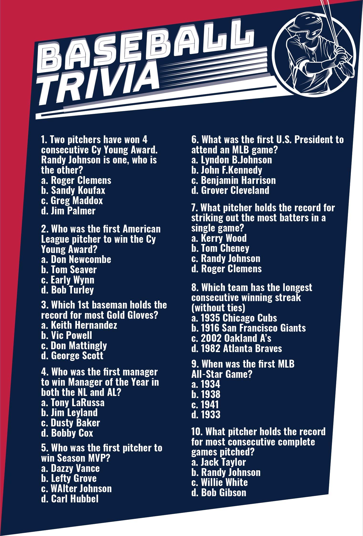 Printable Baseball Trivia