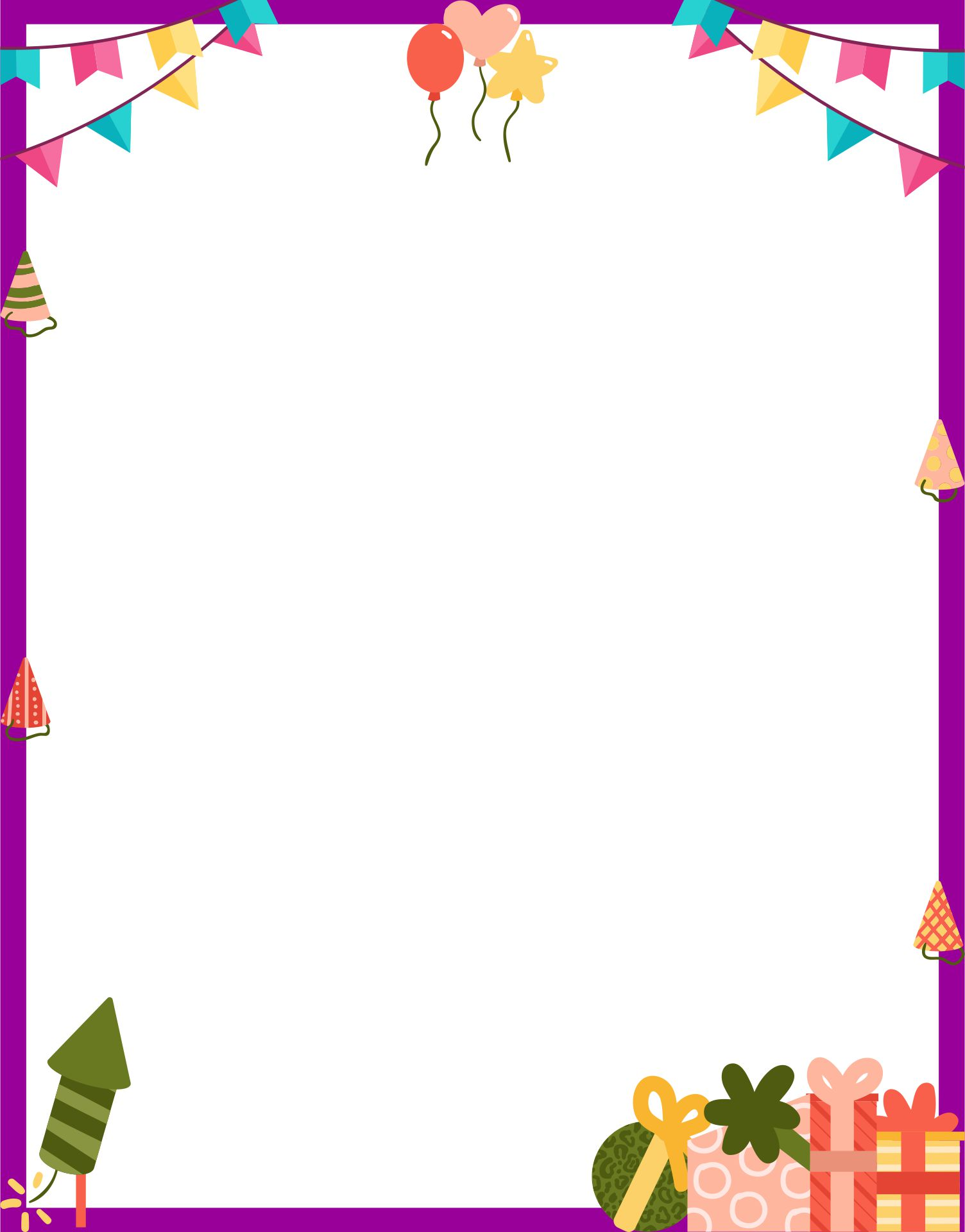 4 Images of Free Printable Happy Birthday Borders