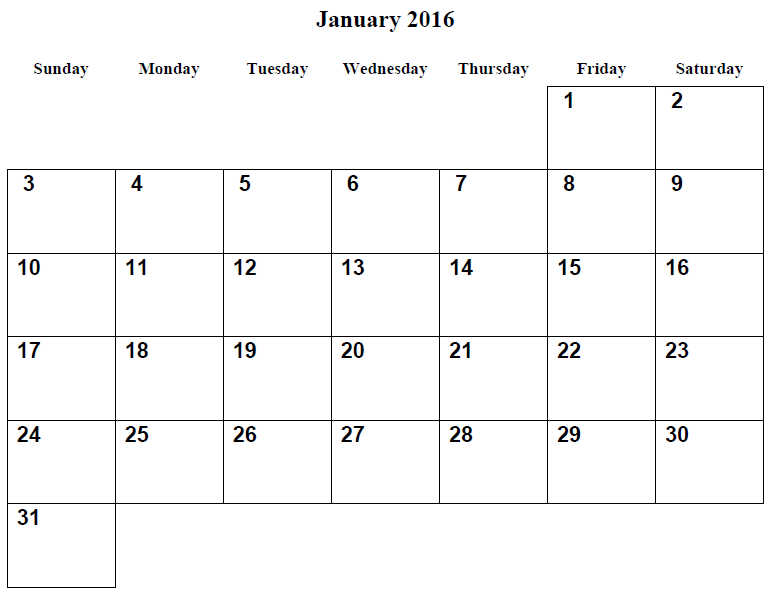 7 Images of Free January Printable Calendars Com 2016
