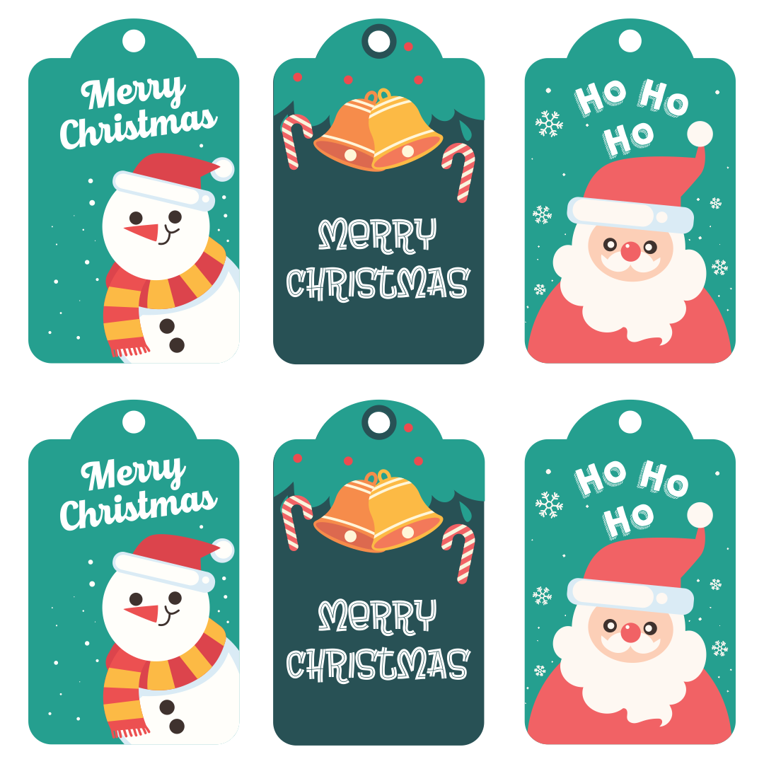 5 Images of Oversized Christmas Tags Printable