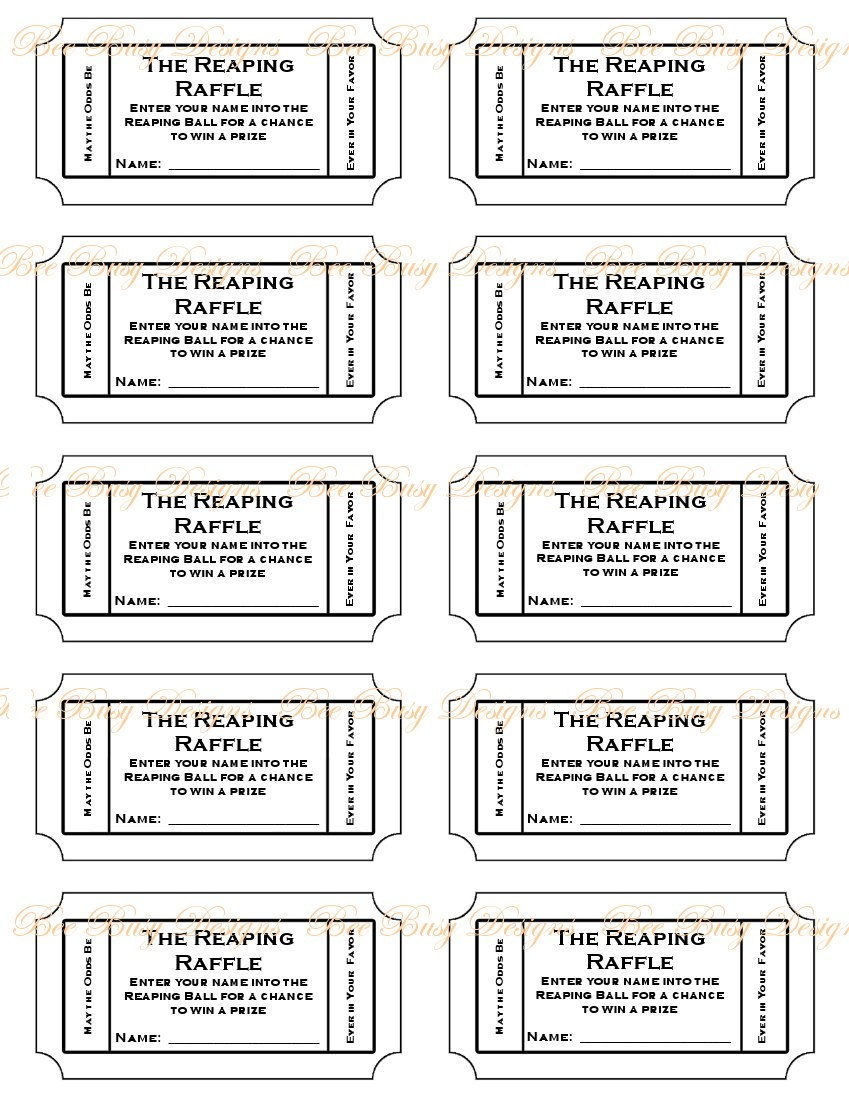 9 Images of Printable Raffle Template