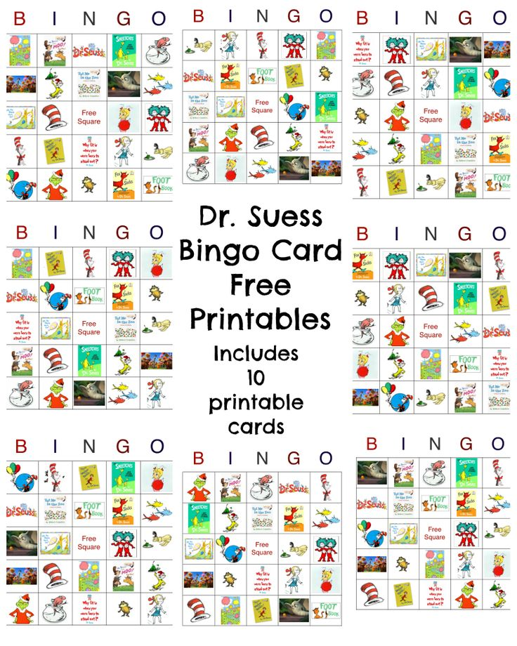 7 Images of Dr. Seuss Free Printable Bingo Boards