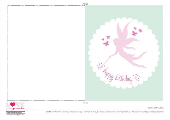 Free Printable Fairy Birthday Card