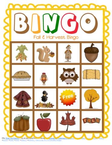 6 Images of Kids Fall Bingo Cards Printable