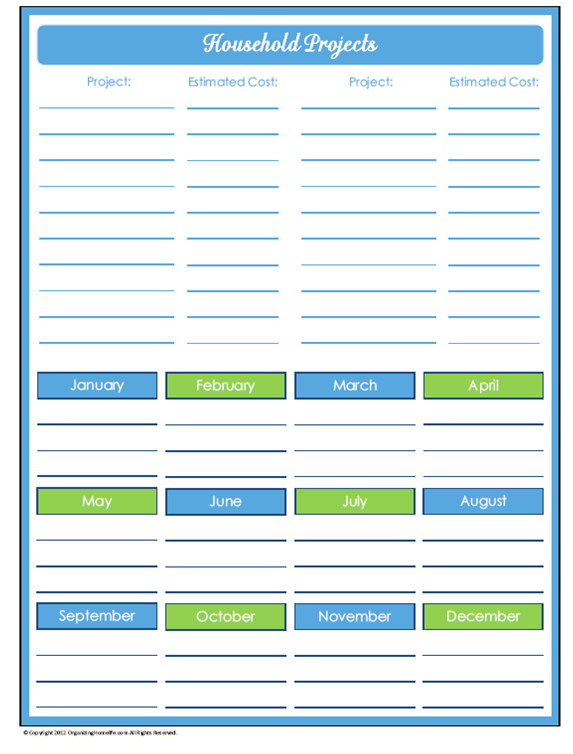 8 Images of Household Planner Printables