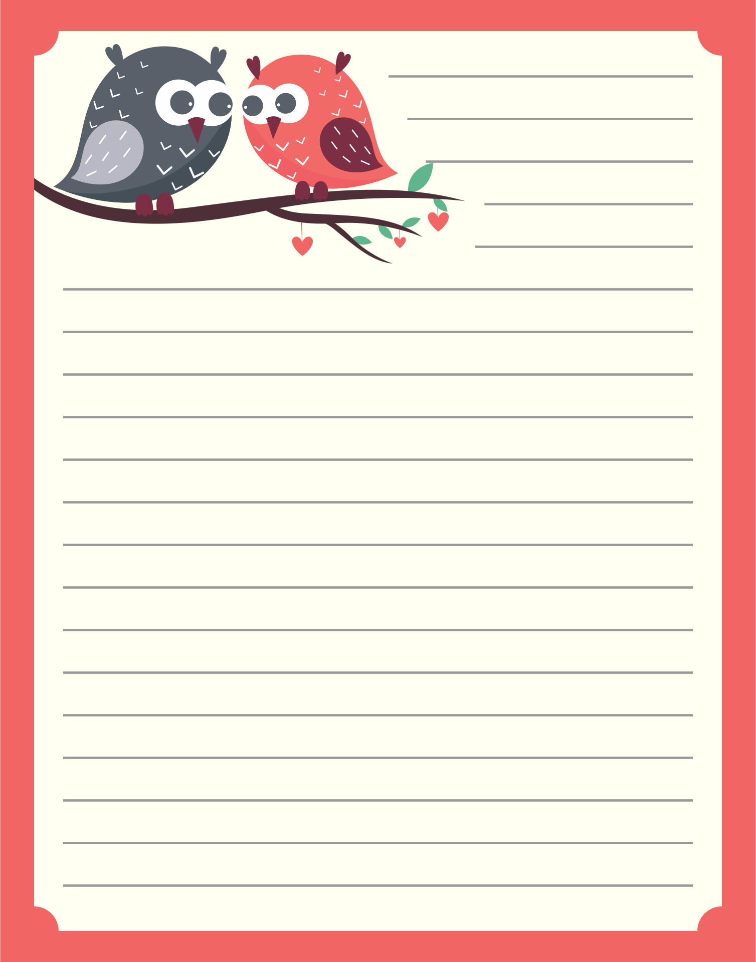 Free Printable Owl Stationery